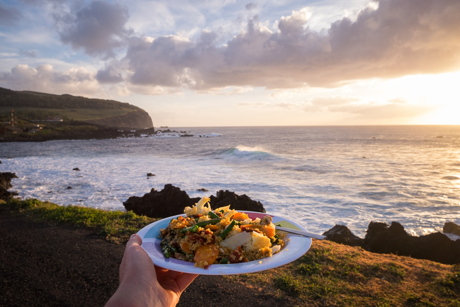I had the same dinner for a week - always eaten overlooking the ocean. Sunset - Easter Island | Isla de Pascua | Rapa Nui