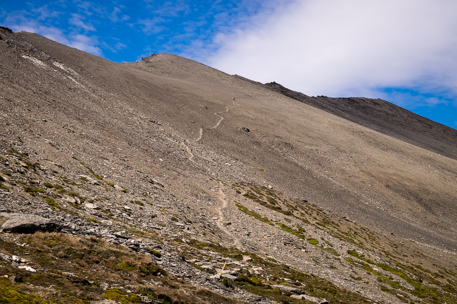The scree-slope! Cerro Guanaco trail - Tierra del Fuego National Park - Argentina