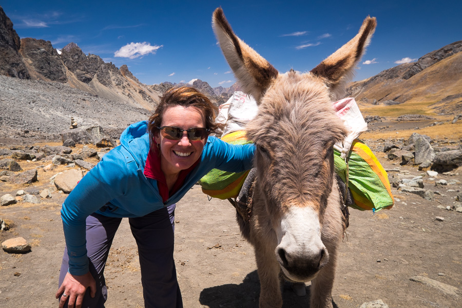 Donkey and me at Punta Tapush - Cordillera Huayhuash