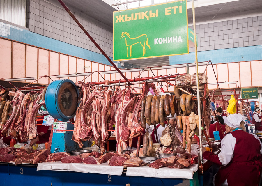 horse meat section -Green Bazaar - Almaty - Kazakhstan