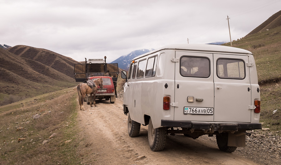 Roadblock on the way to Kaindy Lake - Kazakhstan