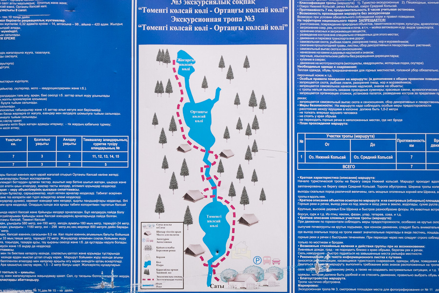 Kolsai Lakes Map - not to scale!