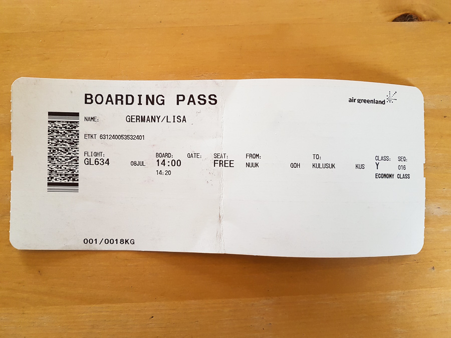 Air Greenland boarding pass