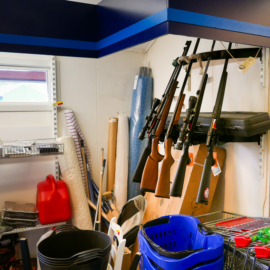 A rack of guns in the Pilersuisoq supermarket in Kulusuk, East Greenland