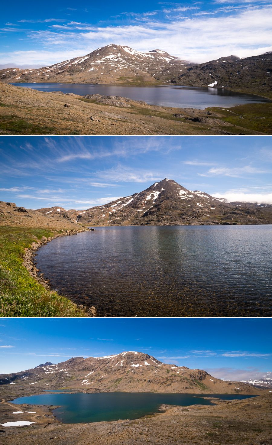 Views of the lakes that you pass as you hike along the Flower Valley near Tasiilaq, East Greenland