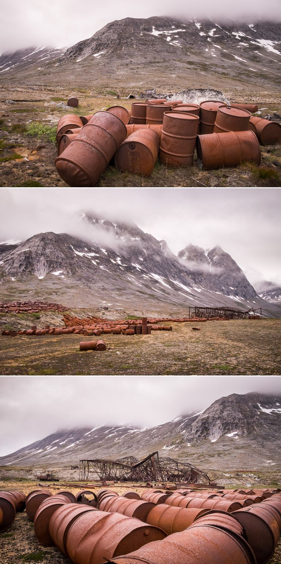 Various images of the rusted hanger and fuel barrels at the abandoned Bluie East Two airbase