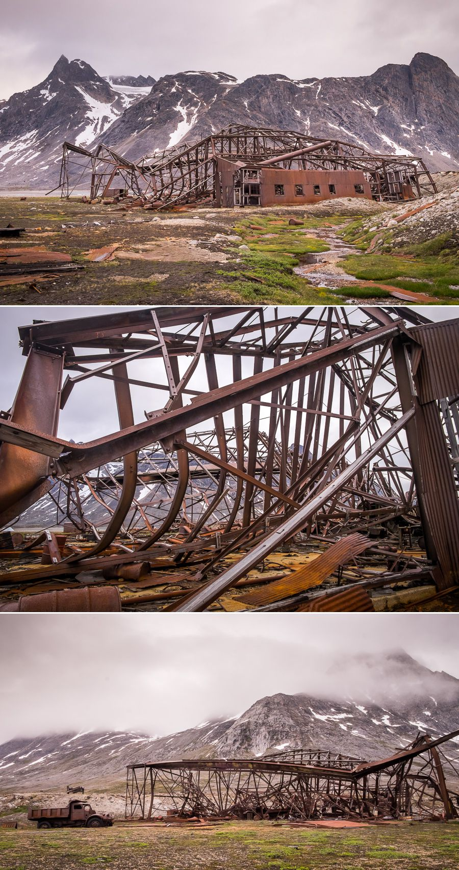 Closer images of the rusted hanger at the abandoned Bluie East Two airbase