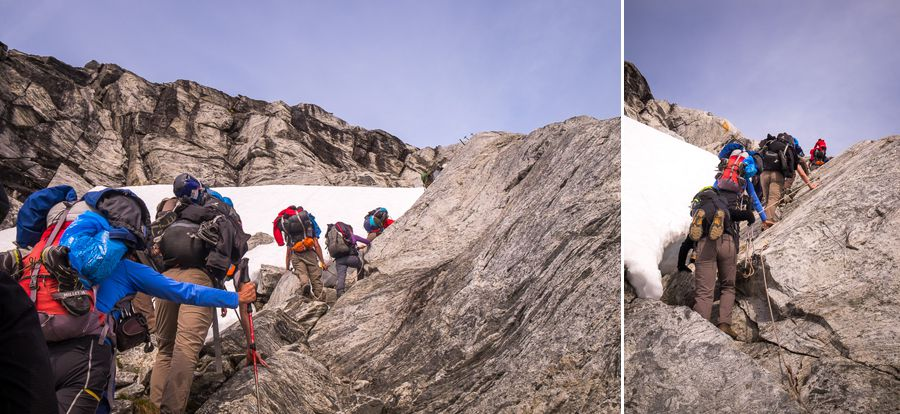 My trekking companions in front of me using ropes to climb the last section to the Tasiilaq Mountain Hut