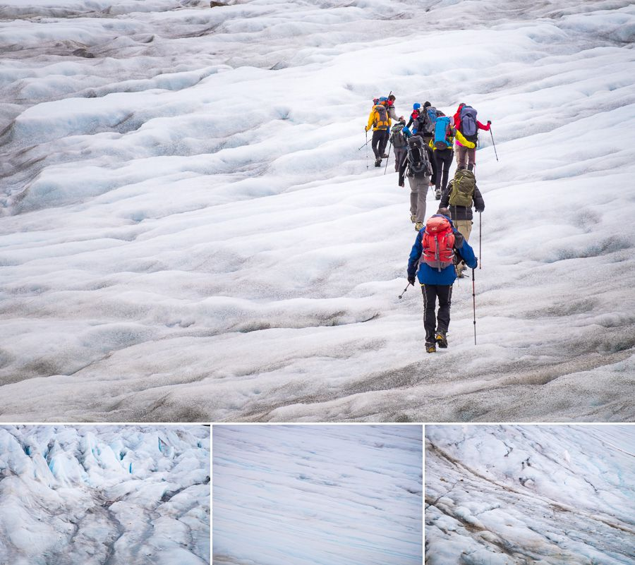 The group hiking on the unnamed glacier, as well as details within the glacier itself