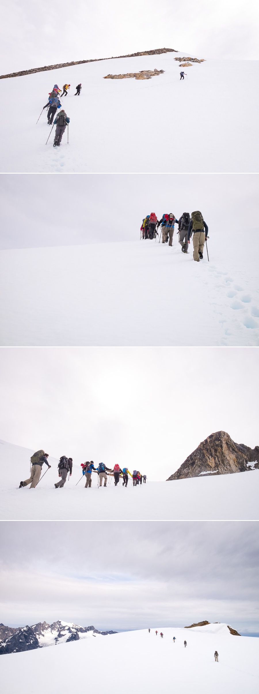 Several images showing the group trekking through the snowfields on the way to the viewpoint