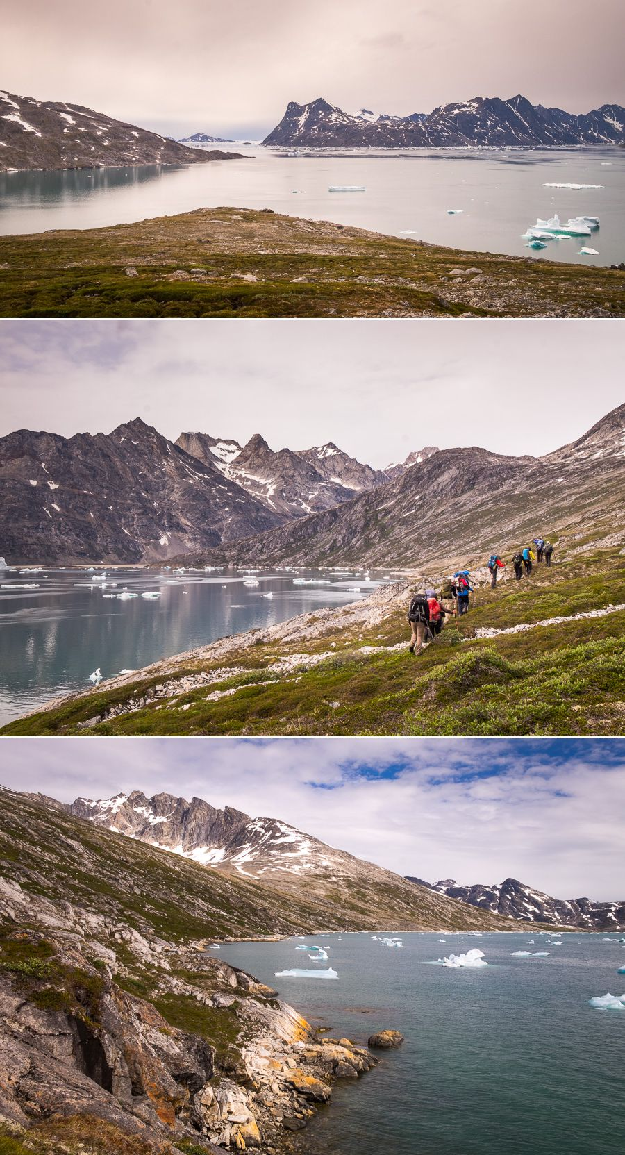 Different views of mountains and water as we hike along the Ikateq Strait towards the Tunu Fjord