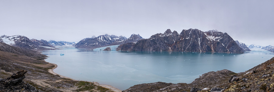 Panorama of the Karale Fjord from our high vantage point showing the Karale, Knud Rasmussen and unnamed glaciers.