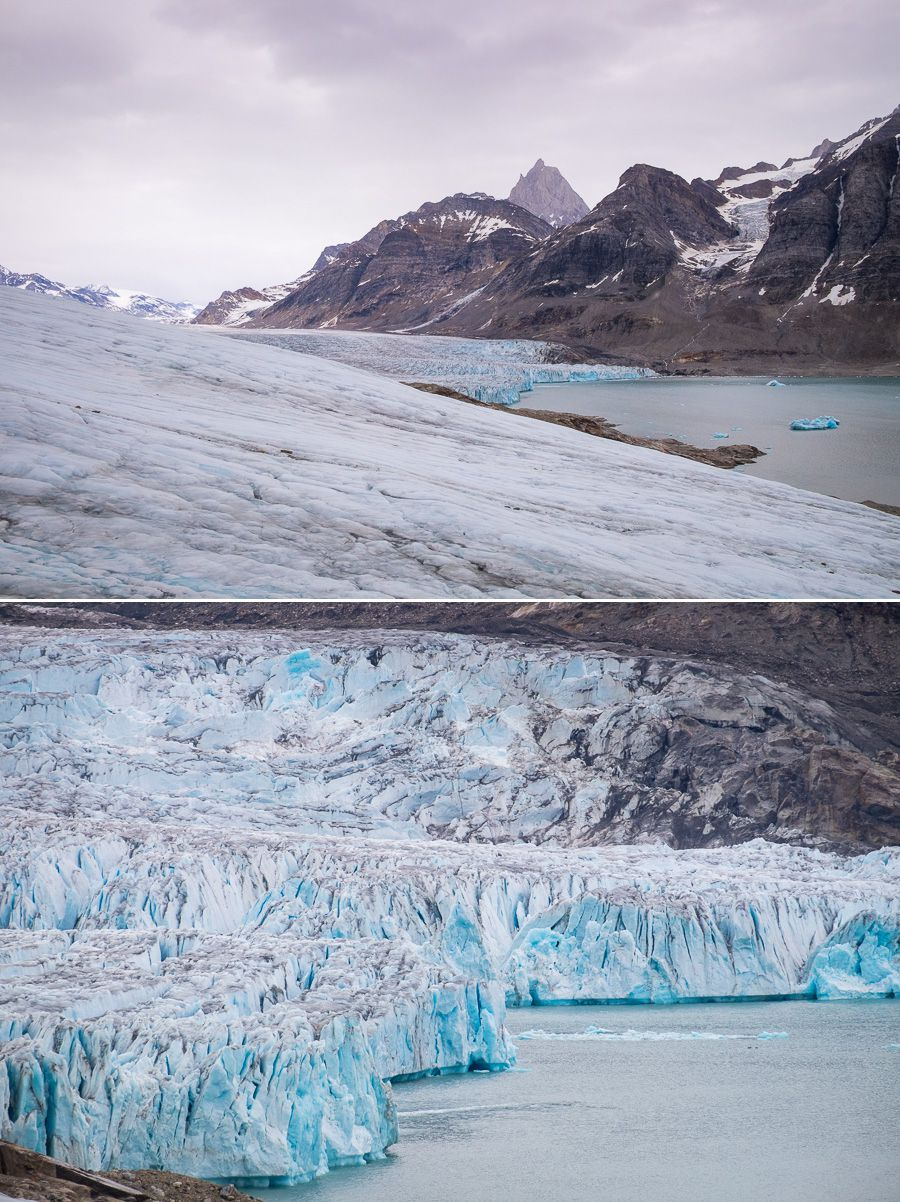 Wide angle and closeup view of the Karale Glacier and its face, as seen from the viewpoint we hiked to