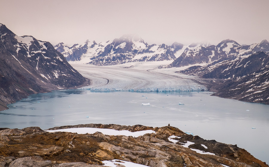 View straight on of the Knud Rasmussen Glacier as we climbed to our high vantage point