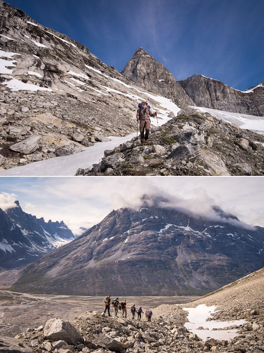 My trekking companions descending along the glacial moraine - top image looking back up at the mountains, bottom image looking down to the valley below
