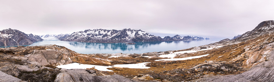 Panorama of the Knud Rasmussen Glacier and the Sermiligaaq Fjord in the direction of Kulusuk