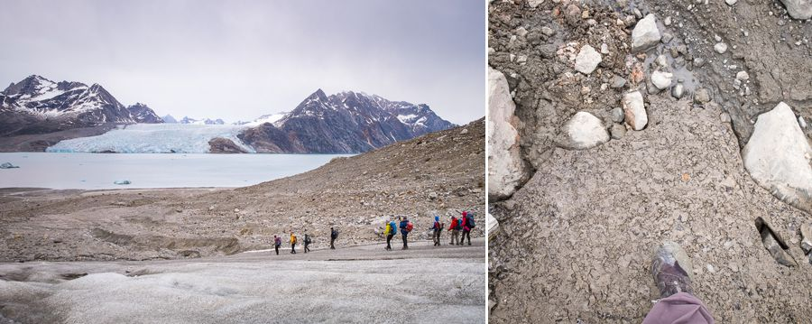 Trekking group coming down off the unnamed glacier, and image of glacier quicksand and my muddy shoe