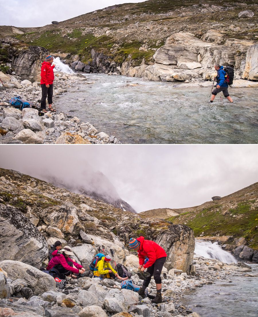 Two images showing how we would cross rivers on the trek