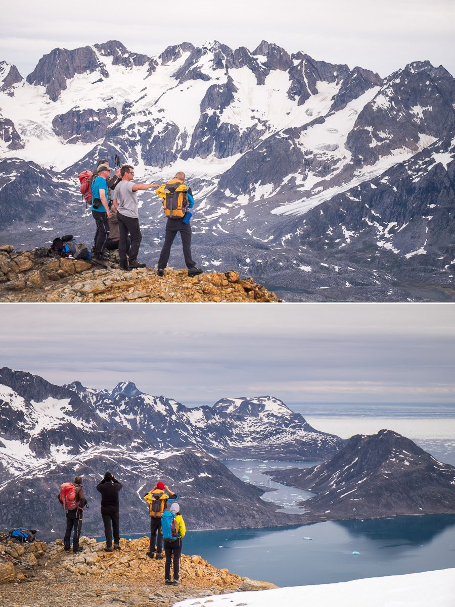 Trekking companions admiring the view at the lookout over the Sermiligaaq Fjord