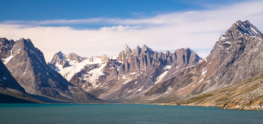 Looking up the Tasiilaq Fjord to the view of the triplets