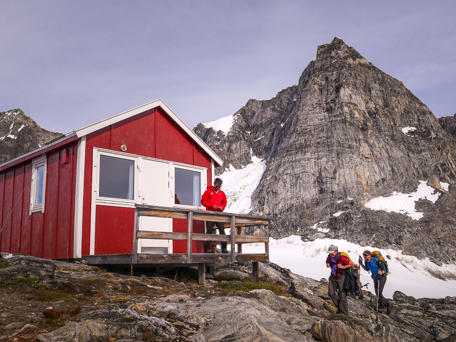 Maxime on the verandah of the Tasiilaq Mountain Hut while Filip and I arrive at last