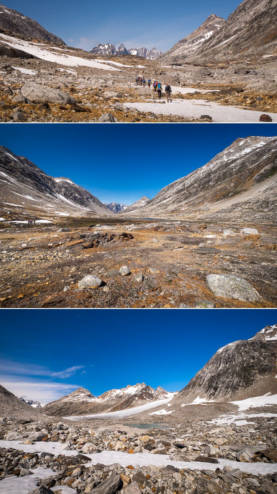 Different views as we crossed the pass from the Tunup Kua Valley to the Tasiilap Nua Valley