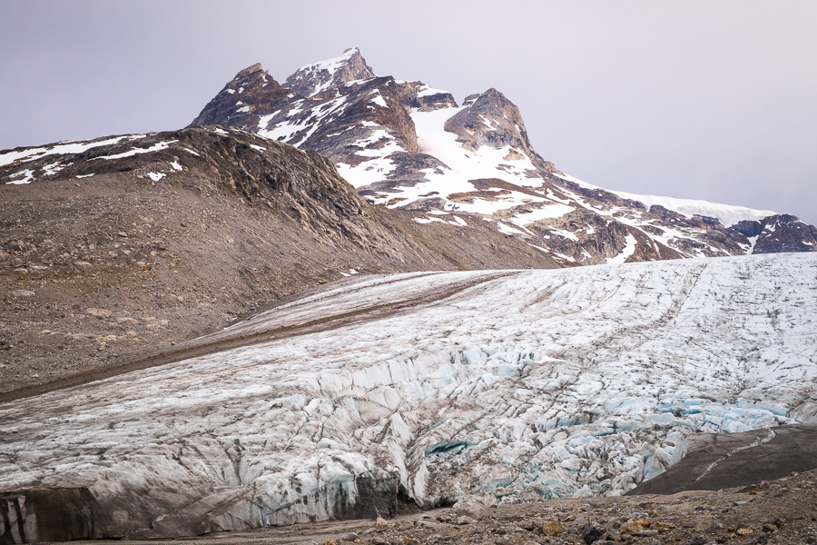 Looking up the steep slope of the unknown glacier towards the mountains behind