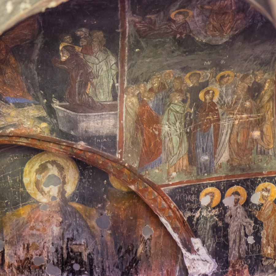 Frescos in the cave church of the Ananauri - Vardzia - Georgia