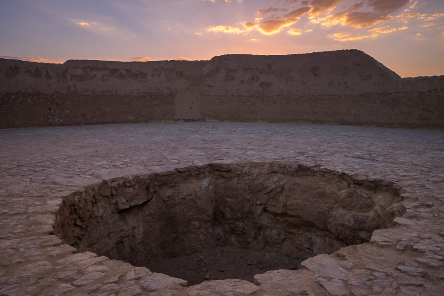Pit where they put the bodies - Zoroastrian Towers of Silence - Yazd - Iran