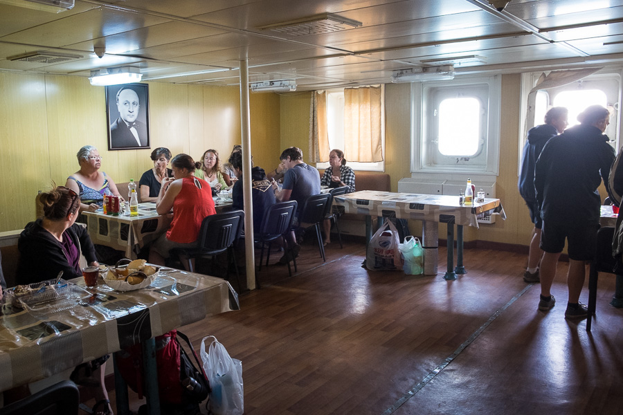 Dining hall on the ferry - Caspian Sea
