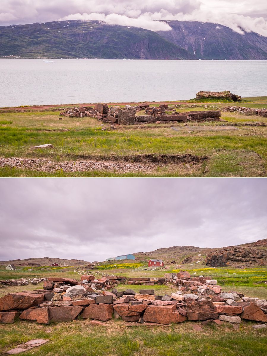 Wide views of the Brattahlid Norse ruins near Qassiarsuk, South Greenland
