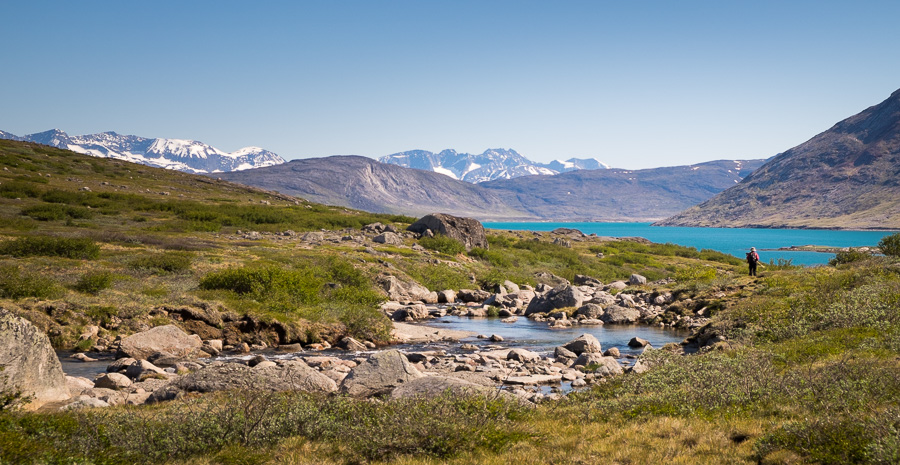 A river leading down to the Igaliku Fjord from the Lake and Plateau hike in South Greenland