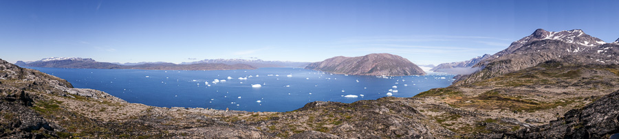 A panorama of the fjord and Qooroq Glacier from the viewpoint of the Lake and Plateau Hike near Igaliku in South Greenland