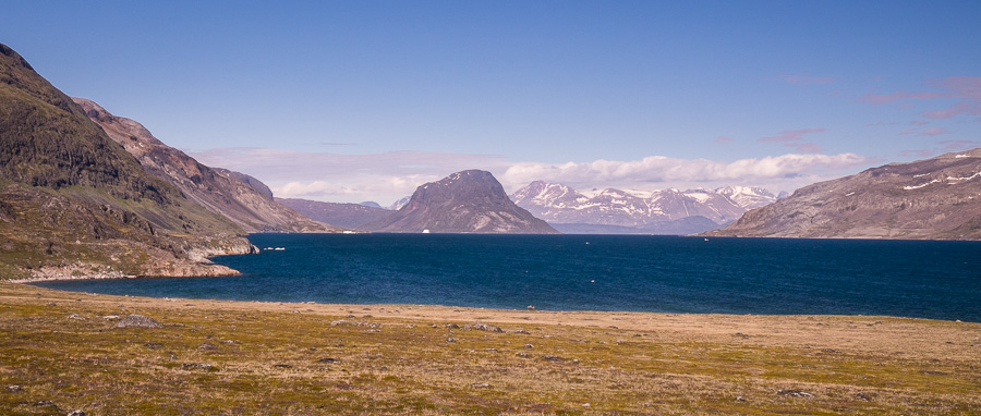 Looking back up the fjord in the direction of Narsarsuaq. Near Narsaq, South Greenland