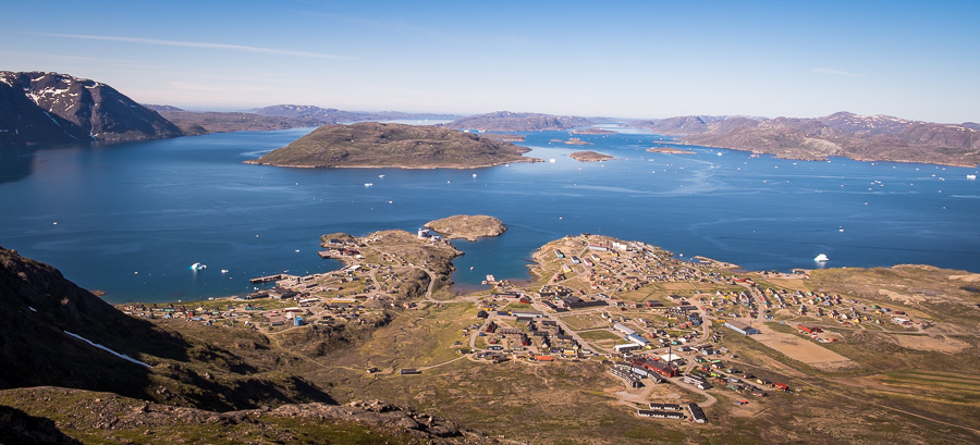 View of Narsaq from the summit of Tasiigaaq in South Greenland