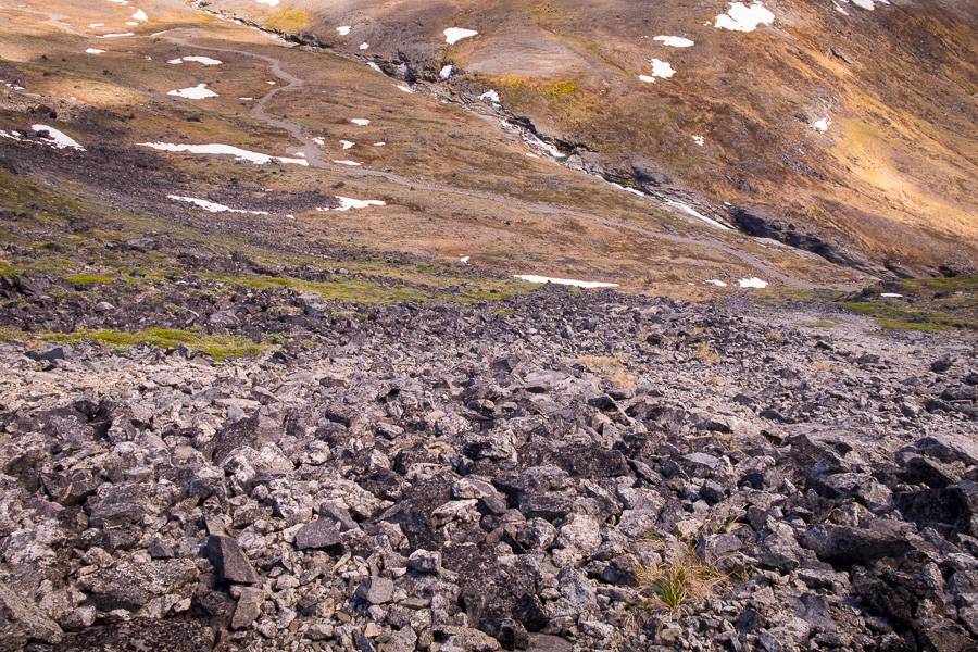 The steep, rocky route I used to descend from Kvanefjeld near Narsaq in South Greenland