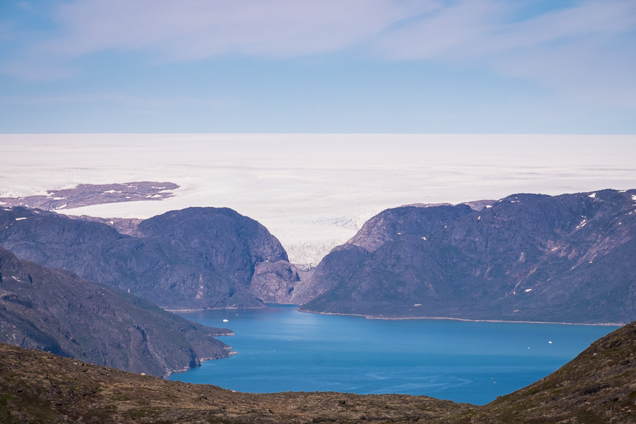 The Greenland ice sheet as seen from the summit of Kvanefjeld near Narsaq in South Greenland
