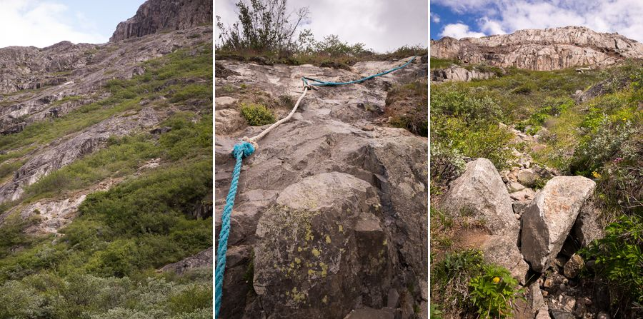 Several images showing the very steep ascent (including ropes) on the Narsarsuaq Glacier hike in South Greenland