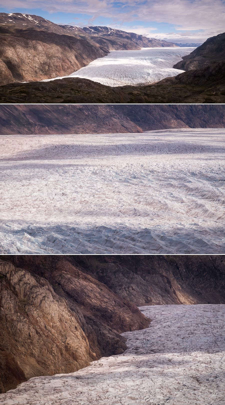 Several views of the Narsarsuaq Glacier taken from the main viewpoint of the hike in South Greenland