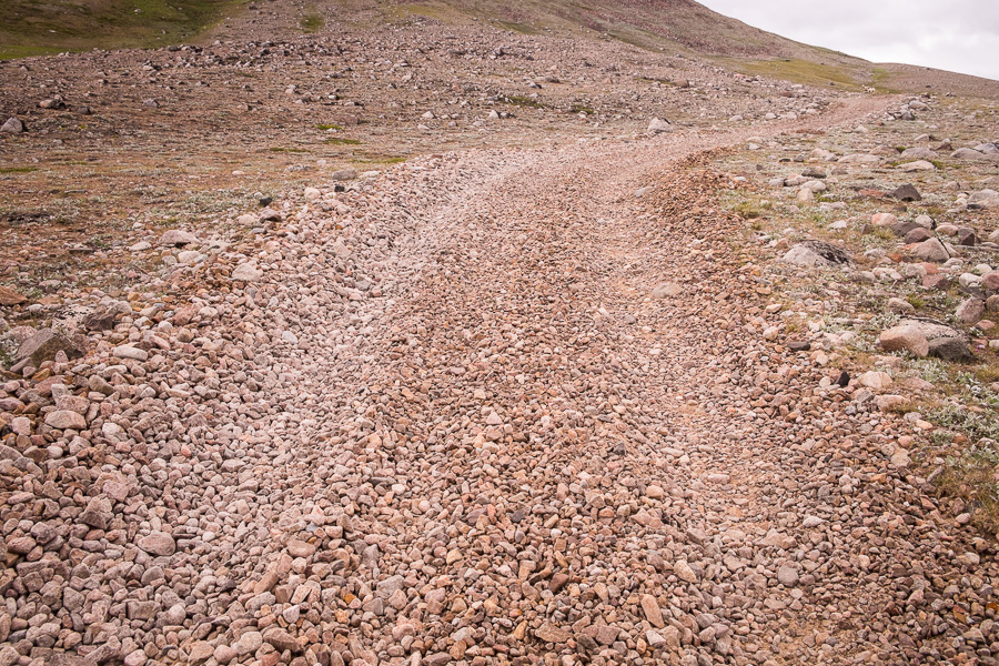 Close up view of the pebble road along the Qassiarsuk – Qorlortup Itinnera hike in South Greenland