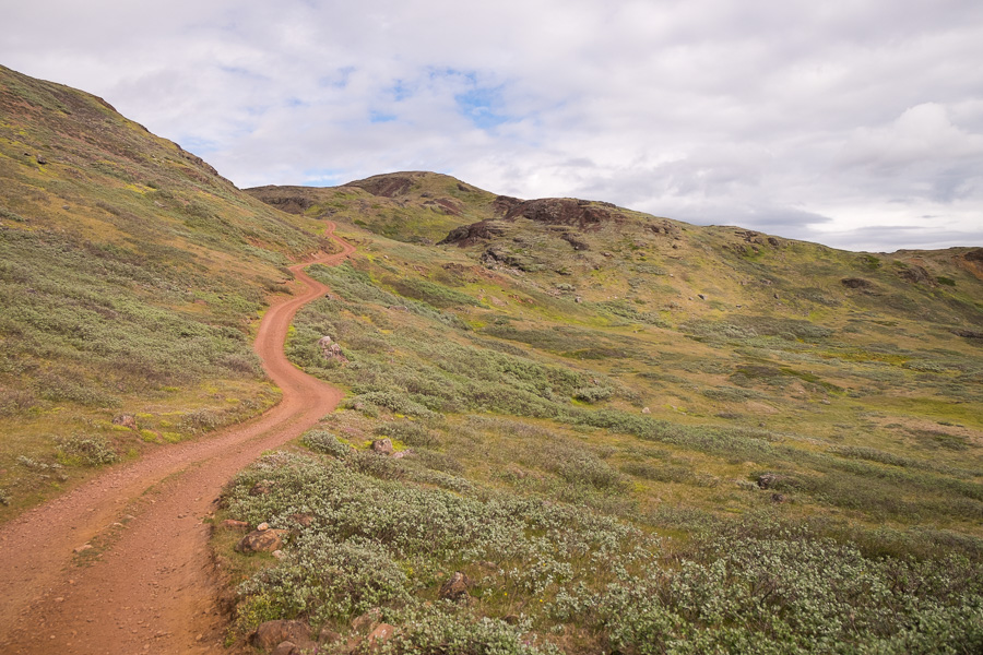 Dirt road leading up to the pass from Tasiusaq to Qassiarsuk in South Greenland