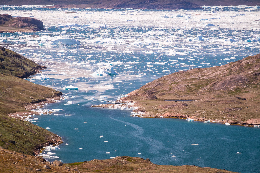 Small icebergs fill the fjord near Tasiusaq. View while hiking from Sillisit to Qassiarsuk via Nunataaq in South Greenland