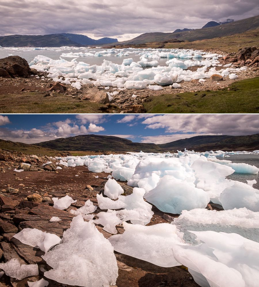 Wide and close-up views of icebergs in, and stranded on the shore of the Southern Sermilik Fjord near Tasiusaq, South Greenland