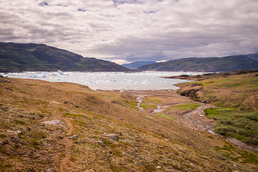 View of icebergs and the Southern Sermilik Fjord. Hiking towards Tasiusaq in South Greenland