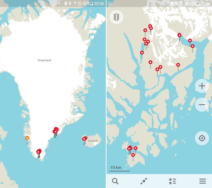 Maps.Me with dropped pins showing where I went in Greenland and the route of the Unplugged Wilderness Trek