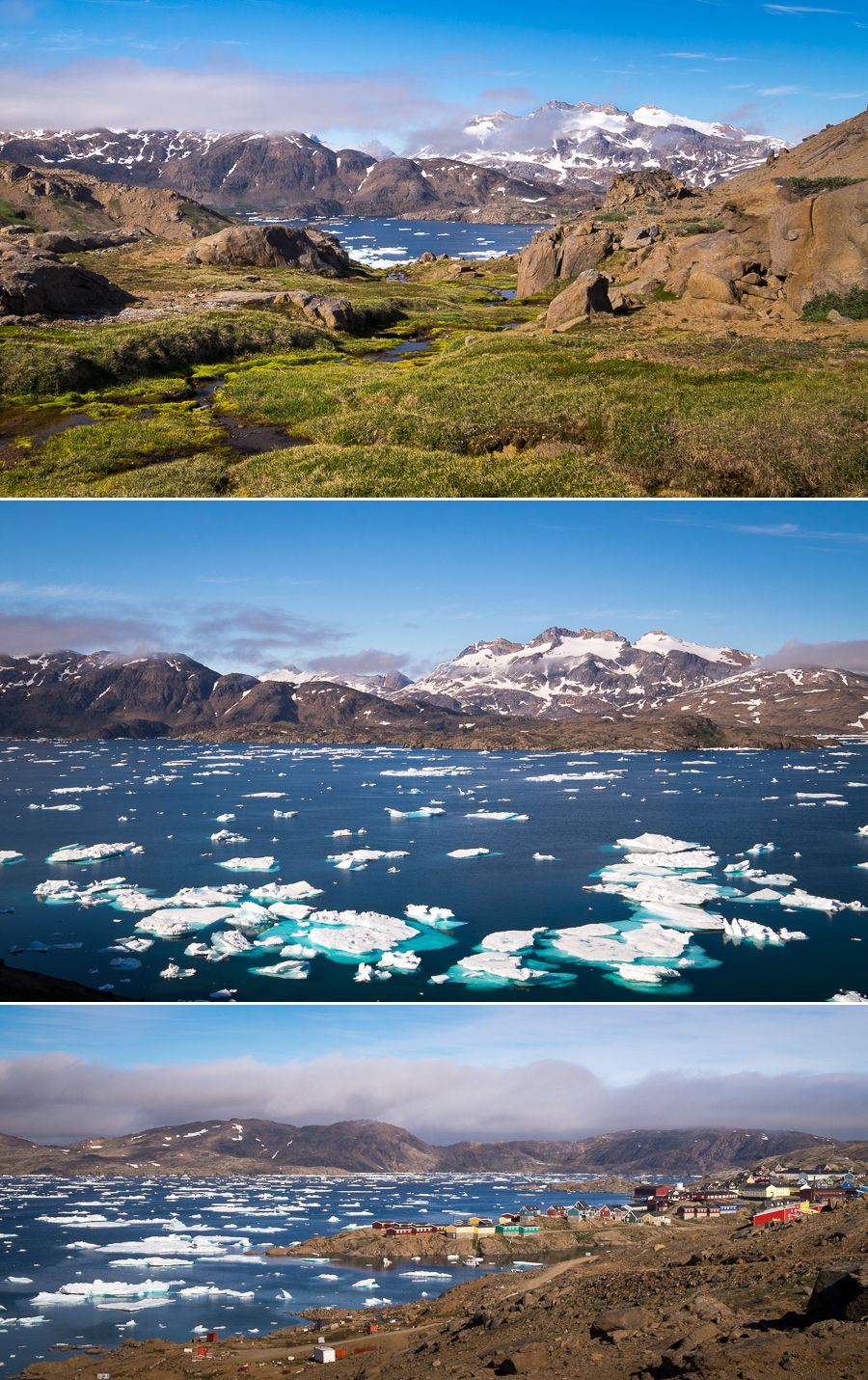 Views of the Tasiilaq fjord as I re-enter the town after the Flower Valley Hike, East Greenland