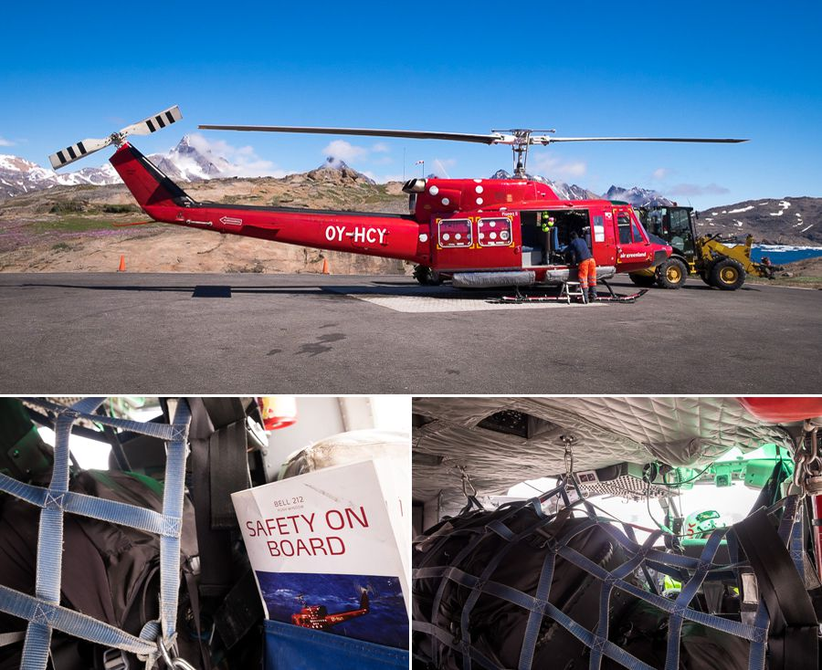 The outside and inside of the Air Greenland helicopter that does the transfers between Kulusuk and Tasiilaq in East Greenland