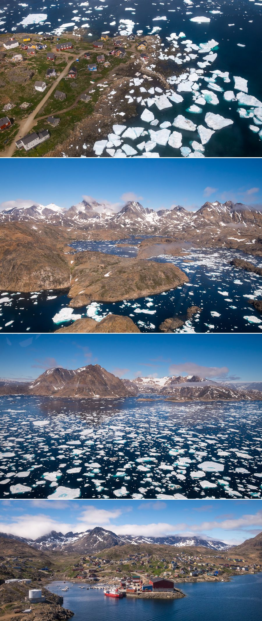 Aerial views of the fjord, Kulusuk and Tasiilaq during my helicopter transfer in East Greenland