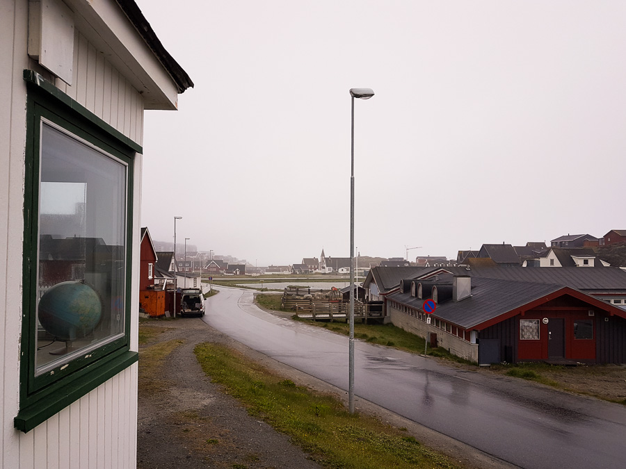 The very rainy view from the front of my great Airbnb in Nuuk, Greenland
