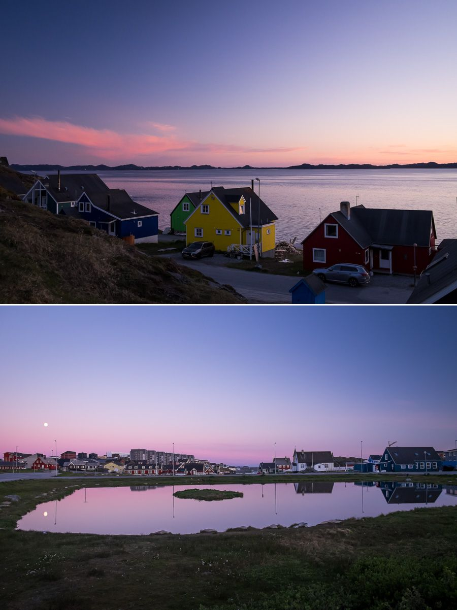 Pink and purple skies over Nuuk, Greenland. Taken at midnight during summer.